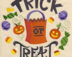 Trick or Treat - Embroidered Decorative Absorbent White Cotton Flour Sack Towel, Linen Tea Towel, Waffle Towel
