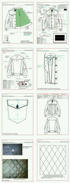 Example of elements of a tech pack, including interior and quilting Flat Drawings, Flat Sketches, Technical Drawings, Dress Sketches, Techniques Couture, Sewing Techniques, Fashion Sketchbook, Fashion Sketches, Drawing Fashion
