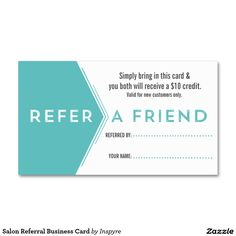 Salon Referral Business Card Template. Make it yours! #salonreferralcard #salonbusinesscard #createyourownbusinesscard