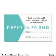 Salon Referral Business Card Template. Make it yours! #salonreferralcard #salonbusinesscard #createyourownbusinesscard