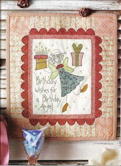 Birthday Wishes for a Birthday Angle Wool Applique Quilts, Applique Patterns, Embroidery Applique, Quilt Patterns, Embroidery Designs, Applique Ideas, Small Quilts, Mini Quilts, Patch Quilt