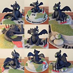 How to Train your Dragon Toothless Cake by eluthrea Toothless Party, Toothless Cake, Toothless Dragon, Dragon Birthday Parties, Dragon Party, Happy Birthday, Fancy Cakes, Cute Cakes, Cupcakes Decorados