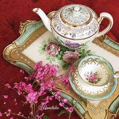 Pastel green set...teapot and Aynsley teacup with Italian handpainted wooden tray from @mamitoko
