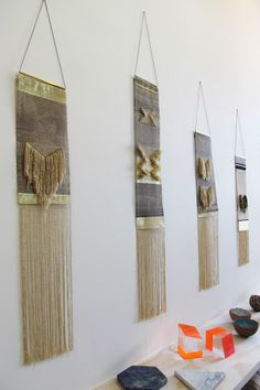 Native Line  by Justine Ashbee -- wire weavings.  Brass, Tunisian silk