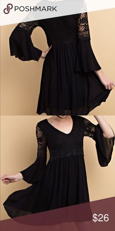 Bell Sleeved Tunic with Two Layer Hem This tunic is made of 100% rayon with 100% polyester lining. It had a flowing fit with lace detail. Fit is true to size Color is black Tops Tunics