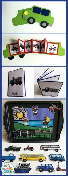 Fun transportation themed vocabulary activities for kids include folding pop-up book, car craft and center games.