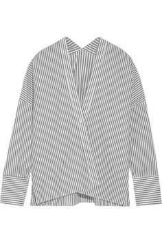 Nili Lotan - Sabine Striped Cotton-poplin Shirt - Navy