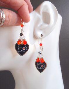 Philadelphia Flyers Orange and Black Crystal SS Ear Wires Pro Ice Hockey Women's Fan Earrings
