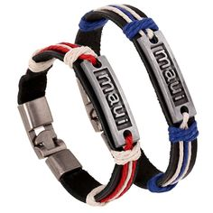 * Penny Deals * - SumBonum Jewelry Mens Womens 2pcs Couples Alloy Leather Rope Cuff Bracelet, Punk Rock Charm Cuff Bracelet, Black Red Blue Silver *** You can get additional details at the image link.