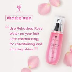 After your shower, spray a little Refreshed Pure & Natural Rose Water on your hair before drying. It'll condition your hair and give it amazing shine at the same time.