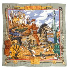 1990s Hermes Pony Express Scarf | From a collection of rare vintage scarves at…