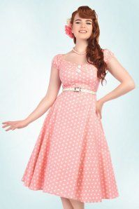 50s Dolores Polkadot Doll Dress in Pink