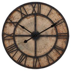 Add an artful touch to your kitchen or home office with this distressed wall clock, featuring Roman numerals laid over a map-inspired background.