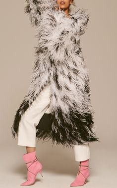 Adam Lippes SS17 - Ostrich Feather Embroidered Dalmatian Print Coat