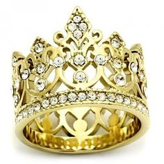 Pave Set Gold Crown Ring