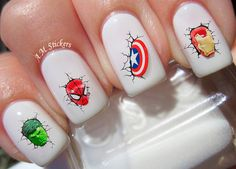 Heroes nail decals, very pretty, bright stickers with unique designs. ♡ Buy any 3 sets of nail art from my listings at the same time ♡ ♡ & I will add a set of my choice free♡ ♡ Thats 4 sets for the Cute Summer Nails, Cute Nails, Pretty Nails, My Nails, Marvel Nails, Avengers Nails, Nail Art Stickers, Nail Decals, Nail Art Dessin