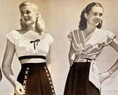 All about blouse styles from the classic button up blouse to the summer crop top, Latin peasant top and knit t shirts. Shop style tops too. Vintage Outfits, 1940s Outfits, Vintage Inspired Dresses, Vintage Clothing, Vintage Sewing, 1940s Fashion Women, Vintage Fashion, High Fashion, Womens Fashion