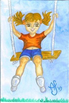 2009 Watercolor - Childhood Memories series:  Flying on my Swing