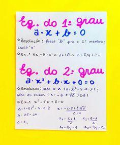 Resumo de Matemática : Equação do 1° grau Equação do 2° grau Study Notes, Study Motivation, Study Tips, Math Lessons, Mathematics, Journal, Education, School, Books