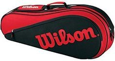 Wilson 2011 Triple Pack Tennis Racquet Equipment Bag - Red/Black by Wilson. $33.85. Wilson's Racket Equipment Bag Triple is for the tennis player who likes to travel 'light' to the courts. It's thin profile design ensures the tennis players most important equipment is protected, their rackets! Perfect for the player who likes to walk to the courts, or shows up ready to play and needs a light weight equipment bag to carry their rackets and other small accessories. It's sharp Red &...