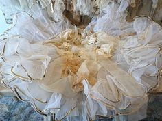 Christmas tree skirt white w/ gold shabby cottage chic holiday decoration tattered fabric ivory lace w/ roses home decor anita spero design 15% off all tree skirts thru the 1st. of Dec. This is a coupon for tree skirts only. This is a one of a kind. I can not duplicate this. Remember the fabrics and laces are tattered and raw edged. 22wide and about 64 long. Accented in gold colors! I made this using all types of beautiful vintage lace items. It includes some beautiful white lace and cream…