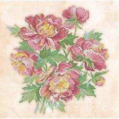 Канва с рисунком для бисера Букет пионов Т-0506 #beads #beadwork #embroidery #mimistitch