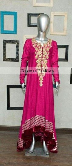 Pink A-Line Casual Wear Dress with Thread Embroidery