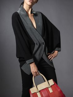 Wool Colour Block Batwing Cardigan