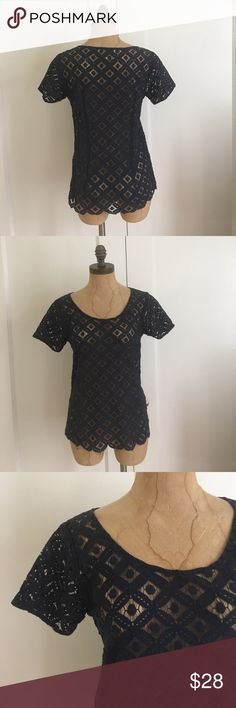 ANTHROPOLOGE TWO OF US LACE TOP ANTHROPOLOGIE WREATHEN BLOUSE BY TWO OF US IN EXCELLENT CONDITIONS Cut like your favorite boy tee, except the typical jersey is replaced with ladylike scallops and lacy dots. From Two of U SZ XS PIT TO PIT 17'' LENGTH 22'' 100%COTTON MACHINE WASH PO-602 two of us Tops