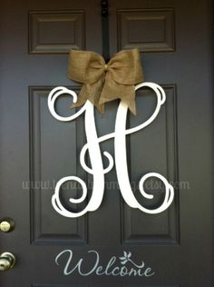 """20 Wooden Monogram Letter by TrendyTrimmings.  Love the """"welcome"""" written on the door!"""