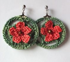 Ravelry: Crocheted Flower Hoop Earrings pattern by Angela Saylor