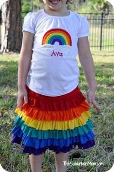 Rainbow Birthday Party Shirt Skirt Outfit ... I could make this out of old t-shirts