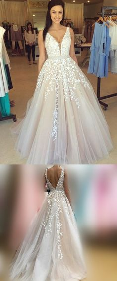 champagne long wedding dress with white lace appliques, 2017 long prom dress homecoming dress