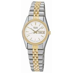 Seiko Ladies' Fluted Bezel Bracelet Watch In Two-Tone Stainless Steel Silver Stainless Steel Bracelet, Stainless Steel Case, Ladies Dress Watches, Hand Wrist, Gold Face, Watch Model, Seiko Watches, Audemars Piguet, Luxury Watches