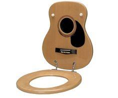 Acoustic Guitar Toilet Seat at The Music Stand hahahahaha Funny Toilet Seats, Objet Deco Design, Man Cave Bathroom, Washroom, Deco Studio, Studio Setup, Music Stand, Music Decor, Acoustic Guitar