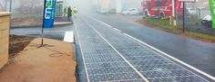One kilometer solar road and 2,880 solar panels in the small village of Tourouvre-au-Perche in Normandy, France.