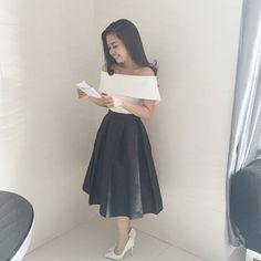 Look classy like our happy roommate Zerra Mae Lyka Lepiten wearing the bestselling COCO TOP & EMMA S - Grad Dresses, Sexy Dresses, Bridesmaid Dresses, Modest Fashion, Fashion Dresses, Ootd Fashion, Skirt Outfits, Cute Outfits, Church Outfits
