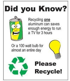 Look at what recycling a single aluminum can can do. Recycle!