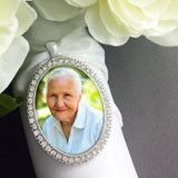 Large 40x30mm Silver Rhinestone Oval Wedding Bouquet Photo Charm