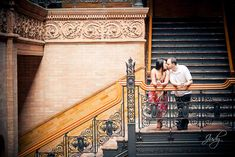 Creative and fun engagement photography, Bradbury Building, downtown Los Angeles
