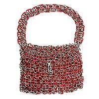 Soda pop-top bag, 'Mini-Shimmery Red'