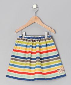 Blue & Yellow Seaside Stripe Lila Skirt - Toddler & Girls