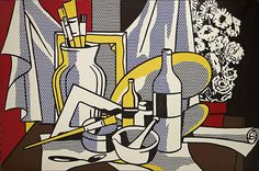 Roy Lichtenstein, Still Life with Palette, Oil and Magna on canvas, 60 x 95 inches Acquavella Galleries. Art © Estate of Roy Lichtenstein Image Roy Lichtenstein Pop Art, Jasper Johns, Palette, Industrial Paintings, Still Life Artists, Gagosian Gallery, Pop Art Movement, Robert Rauschenberg, Still Life Drawing