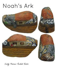 Noah's Ark painted on a medium-size rock