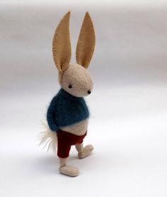 Cream Woollen Rabbit Handmade woolly by skippityhopcreatures