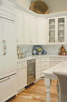 Kitchen Reveal French Farmhouse Decor, French Country Decorating, Lights Over Island, Blue White Kitchens, Apron Front Sink, Kitchen Family Rooms, Glass Cabinet Doors, Decorative Panels, Design 24