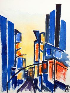7th avenue 41x31 cm - Série New York - 2017- new york city, aquarelle, watercolor