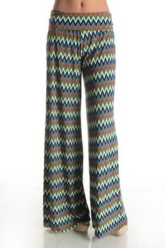 Kelly Brett Boutique: Women's Online Clothing Boutique - Palazzo Pants Chevron Spell Multi, $18.00 (http://www.kellybrettboutique.com/palazzo-pants-chevron-spell-multi/)