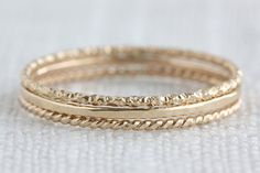 Set of Three 14K GoldFilled Textured Stack by thatwinsomegirl, $26.00