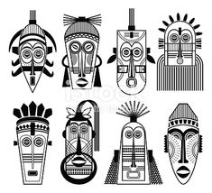 Ethnic masks or tribal mask flat icons - Royalty-free Abstract stock vector Kitsune Maske, Keramik Design, Human Icon, African Paintings, Africa Art, Masks Art, African Masks, African American Art, Aboriginal Art